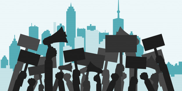 Protest vor Stadt