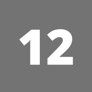 Zahl 12 auf grauem Hintergrund