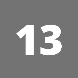 Zahl 13 auf grauem Hintergrund