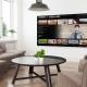 Videostreaming | eingeschaltener Bildschirm in einem leeren Wohnzimmer