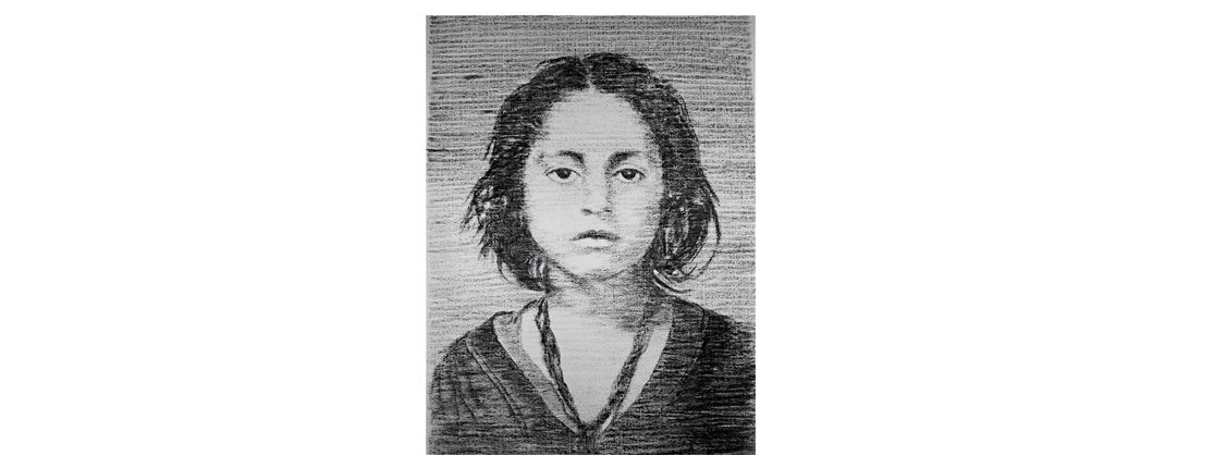 Kohlezeichnung eines Holocaust-Opfers von Manfred-Bockelmann