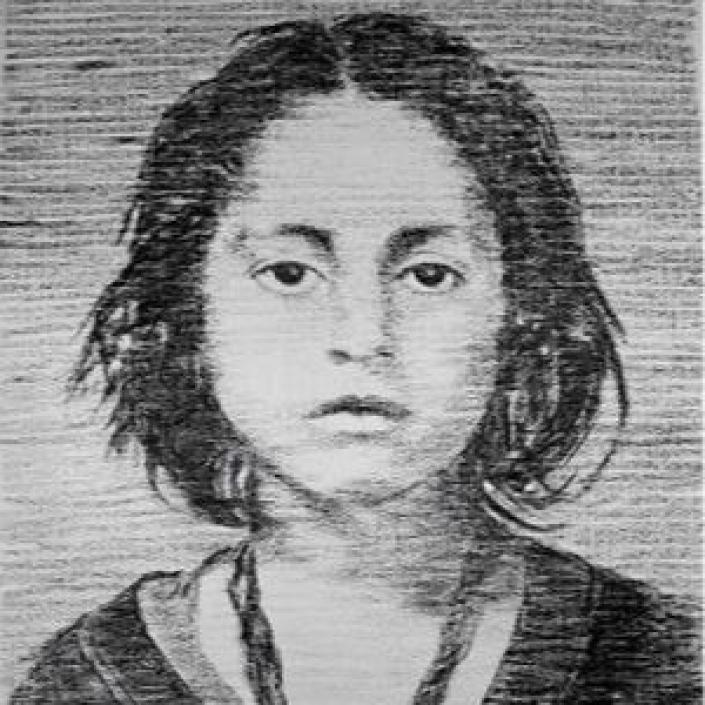 Kohlezeichnung eines Holocaust-Opfers von Manfred Bockelmann