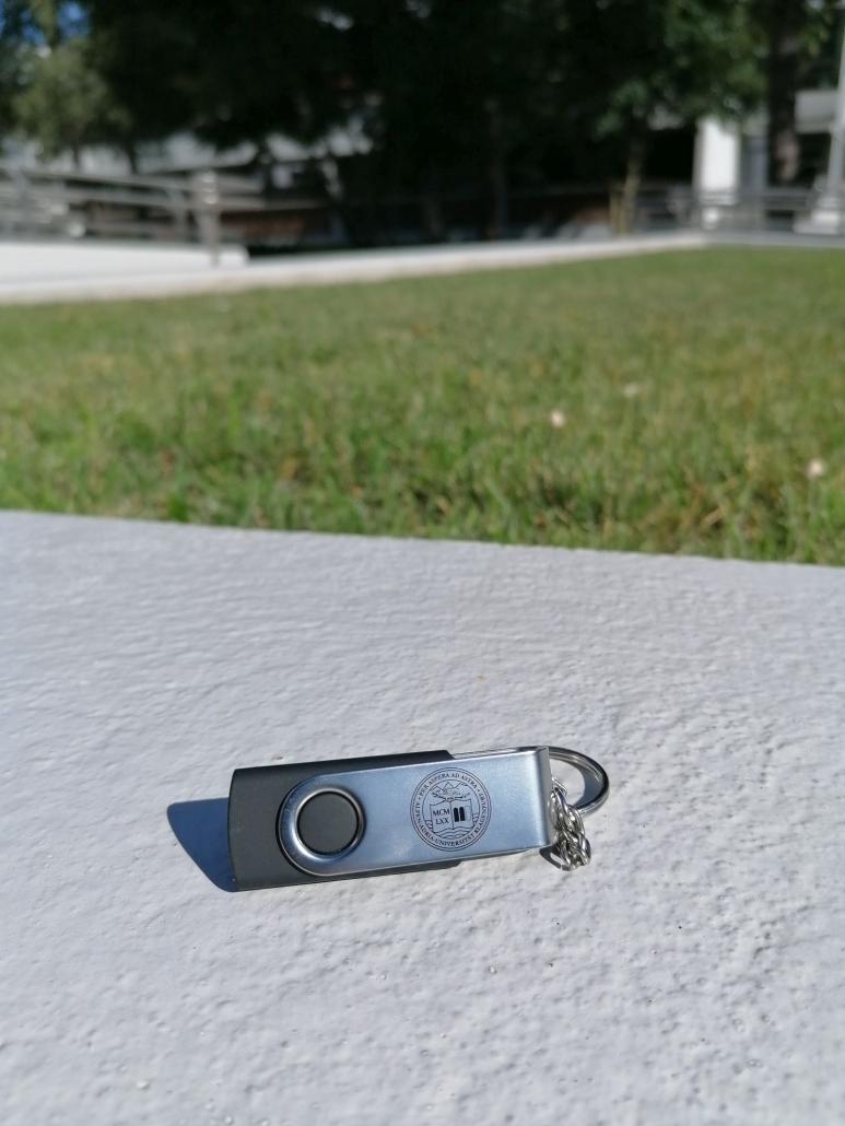 Foto von einem USB-Stick mit 16 GB Speicherkapazität in schwarz-grauer Farbe auf der Mauer vor der Wiese im Bereich des Haupteingangs