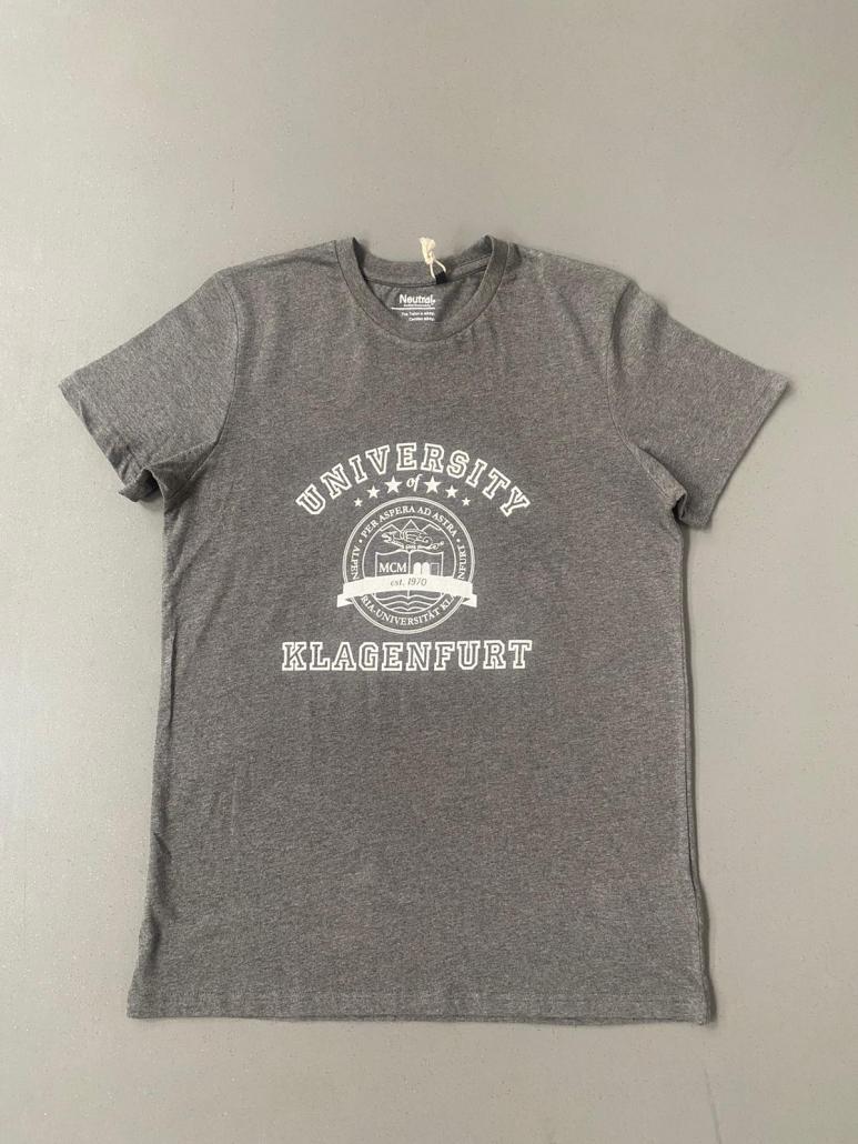 Graues T-Shirt mit dem Siegel der Uni Klagenfurt