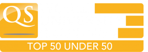 Logo QS World University Rankings Top50Under50 White