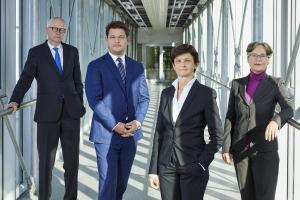 Rektorat: Reinhard Stauber (Personal & Infrastruktur), Oliver Vitouch (Rektor), Doris Hattenberger (Lehre), Martina Merz (Forschung)