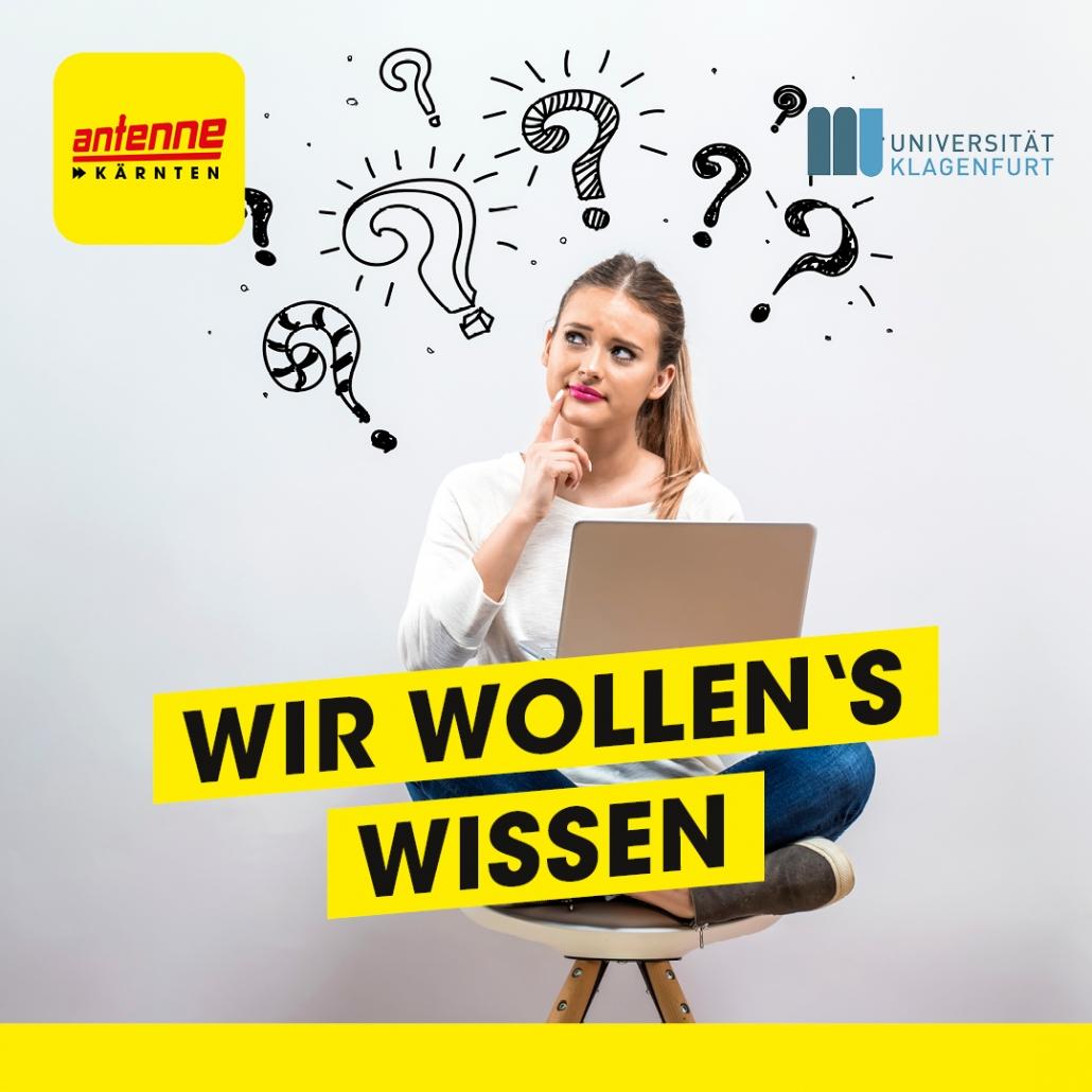 Sujet Wiwi Podcast Wir wollen's wissen - Junge Frau mit Laptop und Fragezeichen über ihrem Kopf