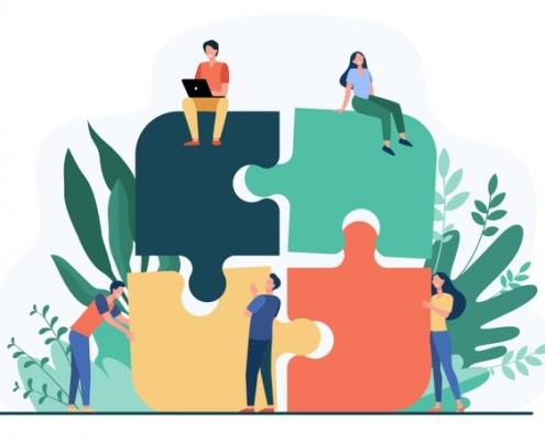 Verschiedene Tätigkeit auf Puzzleteilen