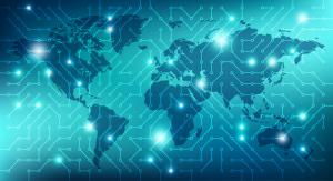 Digitales Netzwerk über einer Weltkarte