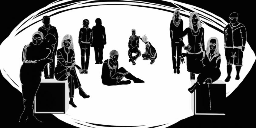 Eine Graphik stellt eine Reihe von Personen, abgebildet in der Form eines Auges, dar
