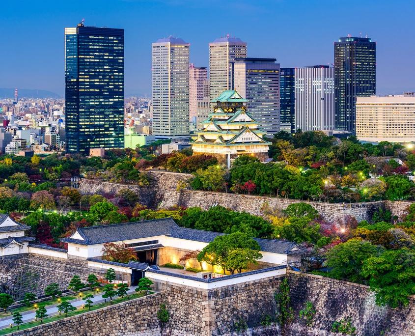 Osaka, Japan skyline at Osaka Castle Park