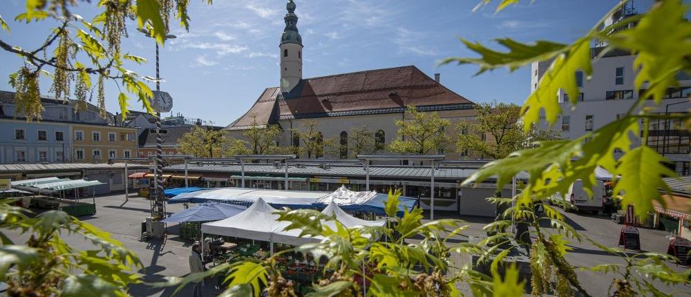 Blick auf den Benediktinermarkt Klagenfurt