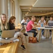 Studierende in der Aula der AAU. Vorne sitzt eine junge Studentin mit Laptop am Fenster in der Aula.