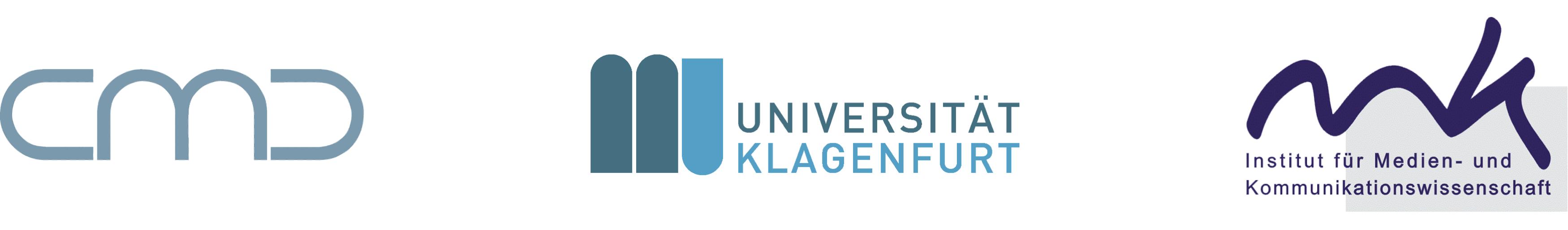 Logos des CMC, der Universität Klagenfurt und des MK-Instituts