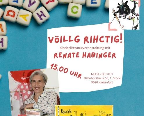 Beitragsbild Ankündigung Renate Habinger, Kinderliteraturveranstaltung